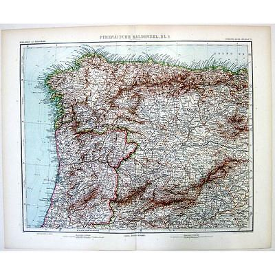 SPAIN and PORTUGAL NW Section  - Antique Stieler Map 1905