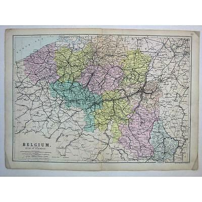BELGIUM and the Duchy of Luxembourg - Antique Map 1880 by Bacon