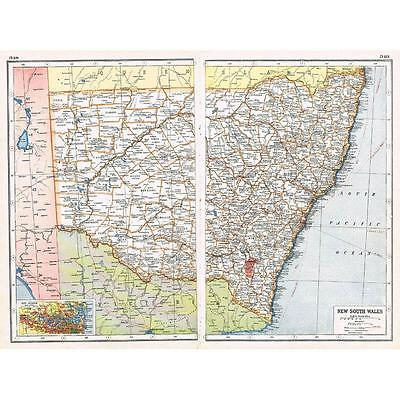 Antique Map 1920 - AUSTRALIA New South Wales inset Port Jackson-Harmsworth Atlas