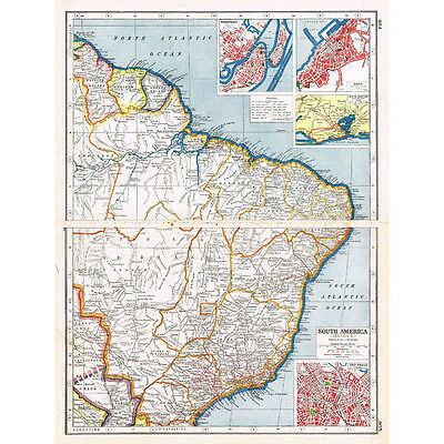 Antique Map 1920 - BRAZIL Sao Salvador, Recife, Sao Paolo - Harmsworth Atlas