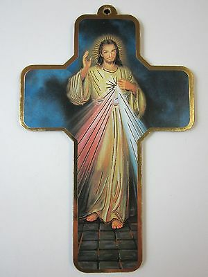 """Divine Mercy Picture Wall Cross on Wood  5"""" Made in Italy"""