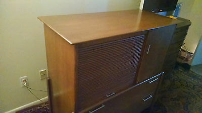 Vintage Heywood Wakefield High Boy Dresser with Tambour Door Mid Century Modern