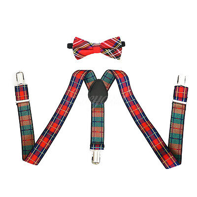 Red Striped Suspender and Bow Tie Set for Baby Toddler Kids Boys Girls (USA)