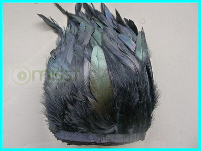 10 Yards Black Natural Saddle Trim Rooster Feathers 15-20cm 6-8 Inches