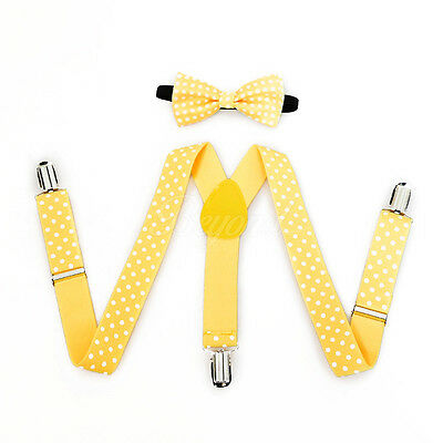 Yellow Polka Dots Suspender and Bow Tie Set for Baby Toddler Kids Girls (USA)