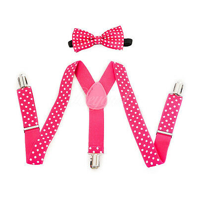 Hot Pink Polka Dots Suspender and Bow Tie Set for Baby Toddler Kids (USA Seller)