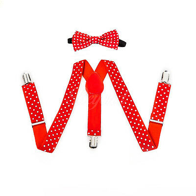 Red Polka Dots Suspender and Bow Tie Set for Baby Toddler Kids Girls (USA)
