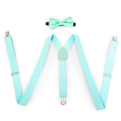 Teal Suspender and Bow Tie Set for Baby Toddler Kids Boys Girls (USA)