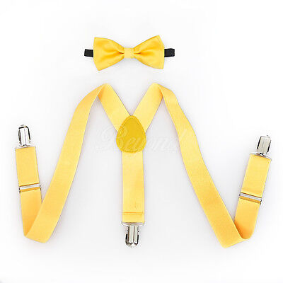 Yellow Suspender and Bow Tie Set for Baby Toddler Kids Girls Boys - USA Seller