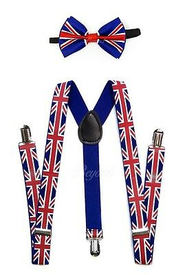 England Suspender and Bow Tie Set for Adults Men Women Teenagers (USA Seller)