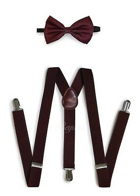 Burgundy Suspender and Bow Tie Set for Adults Men Women Teenagers (USA Seller)