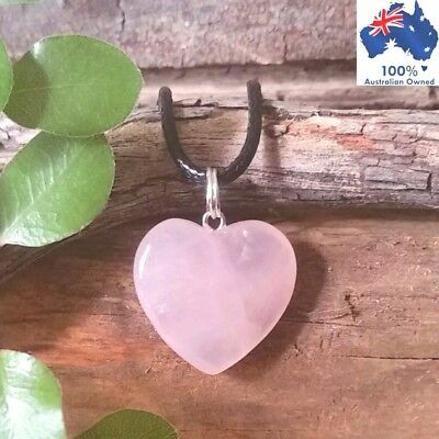 ROSE QUARTZ Crystal Healing Heart LOVE RELATIONSHIPS Gemstone Pendant Necklace
