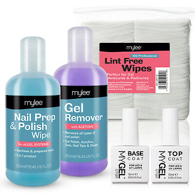 Mylee Prep Remover Wipes MyGel Top & Base UV LED Gel Polish Nail Kit