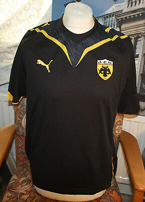 2000s Authentic Replica AEK Athens Football Shirt BLACK Size Large