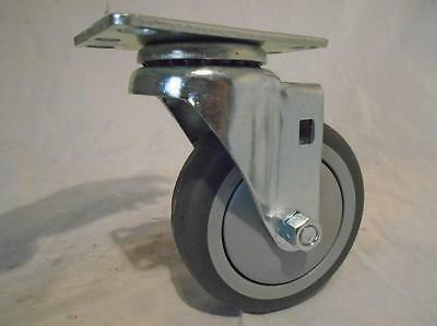 "4"" x 1-1/4"" Swivel Caster Thermoplastic Soft Rubber Non-Marking Wheel"