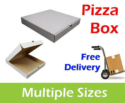 100 Plain White Pizza Boxes Multiple Sizes, Takeaway Pizza Box, Postal Boxes