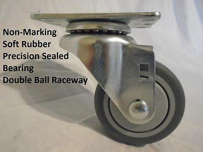 "3"" x 1-1/4"" Swivel Caster Thermoplastic Soft Rubber Non-Marking Wheel"