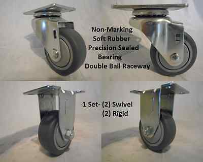 "3"" x 1-1/4"" Swivel Caster Thermoplastic Soft Rubber Non-Marking Wheel & Rigid"
