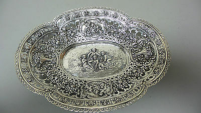 "Fabulous German 800 Silver Chased & Pierced 11"" Oval Dish, Cherub Design"