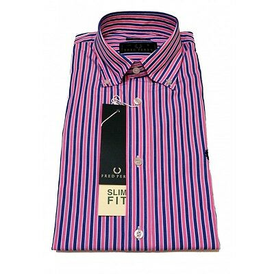 Camicia Fred Perry Uomo Men shirt  slim fit button down 0032 righe