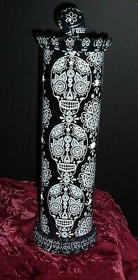 "Black Day Of The Dead Skull Incense Smoker Tower  13"" X 4"" Round New Boxed  Skw"
