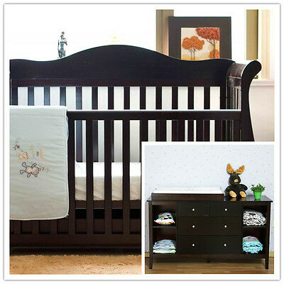 Walnut New Zealand Pine 3-in-1 Baby Sleigh Cot Bed & 4 Drawers Change Table Set