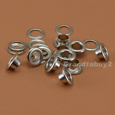 New Silver 100 Sets Size 4/5/6/8/10mm Eyelets w/Washer Grommets Leather Craft