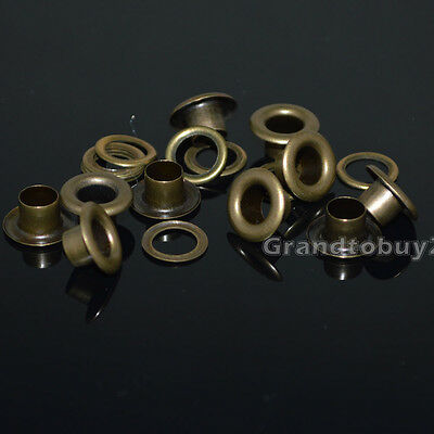 New Antique Brass 100 Sets 4/5/6/8/10mm Eyelets w/Washer Grommets Leather Craft