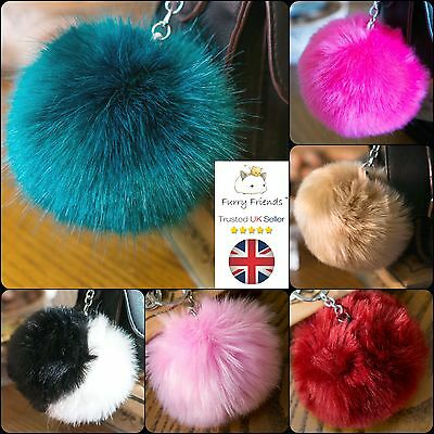 10cm LARGE Cool Trendy Cute Fur Pompoms Girl Furry Mum Fur Turquoise Bag Keyring