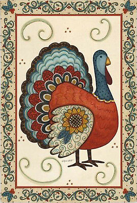 "Turkey With Sunflower Thanksgiving House Flag Yard Banner Evergreen 29"" x 43"""