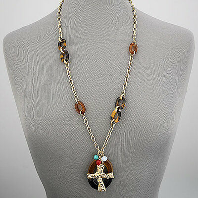 Gold Chain Cross Encrusted Stones Religiously Inspired Pendant Necklace