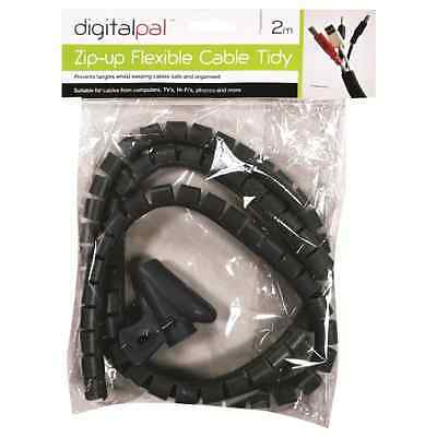 2 Metre Flexible Cable Wire Tidy 2M Ideal For Home Office Computer Tv Spiral New