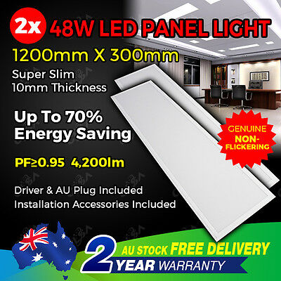 2PCS LED 48W 1200x300x12mm FLAT PANEL LIGHT WHITE CEILING WALL STUDIO FIXTURE