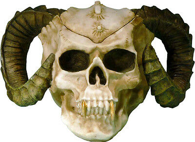 Human Skull Statue Skeleton Figurine Evil Demon Devil Ram Horn Vampire, from USA
