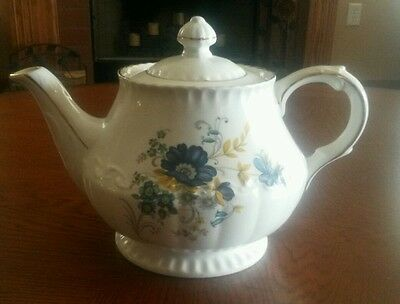 Vintage Ellgreave Teapot Ironstone Div. Of Wood & Sons England Blue Flowers