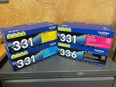 4-Pack GENUINE BROTHER OEM TN336BK TN331C TN331Y TN331M TONER SET - SEALED*