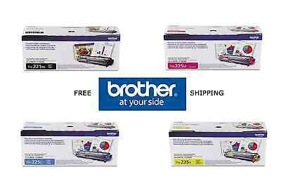 4-Pack GENUINE BROTHER OEM TN221BK TN225C TN225Y TN225M TONER SET - SEALED