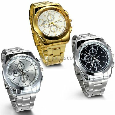 Stainless Steel Band Quartz Analog Elegant Classic Casual Mens Wrist Watch