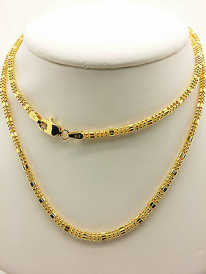 21k Solid Yellow Gold Sparkle Square Beaded Necklace/ Chain 9.16 Grams