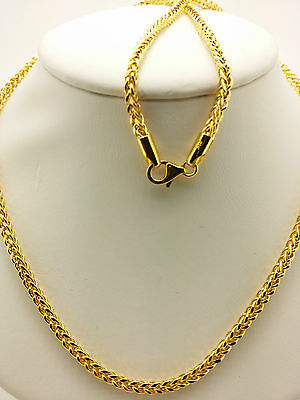 21k Solid Yellow Gold  Woven Square Necklace/ Chain 6.95 Grams