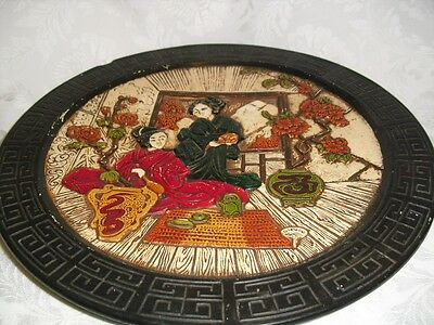Vintage Large BRETBY 1445 Japanese Geishas Wall Hanging Plate
