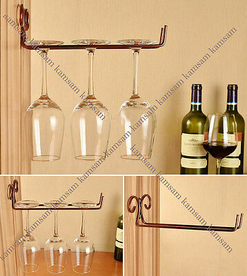 wall wine glass stemware hanging rack holder w/ screw bar dining home decor