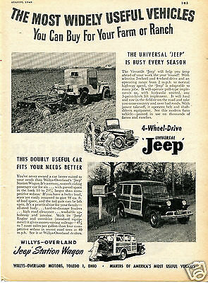 1949 Willys Overland Jeep Versatile Universal Tractor & Station Wagon Print Ad