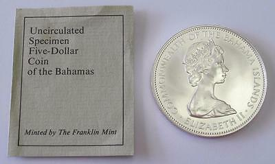 1972 Bahama Islands $5 Uncirculated * Beautiful * Franklin Mint * Free Shipping