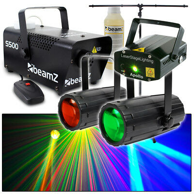 Beamz Red and Green Laser + Moonflower LED Lights + 500W Smoke Machine + Stand