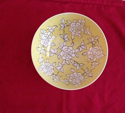 Vintage Japanese Ware Porcelain Yellow Floral Bowl hand painted in Hong Kong ACF
