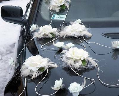 wedding car decorations, feathers kit, ribbons,white or ecru