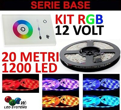Kit 20 Metri Touch Panel Italia 1 Zona Rgb 1200 Led 5050 Strip Striscia 503 Wall