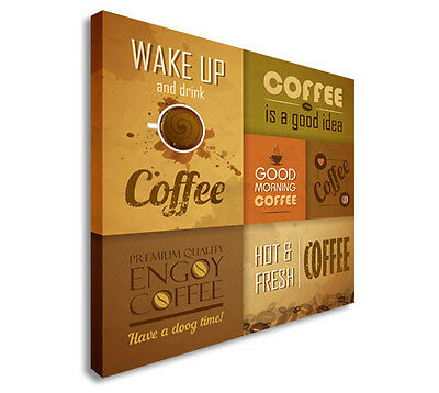 Collection of vintage Coffee Design Elements Canvas art Cheap Print Wall Art sq