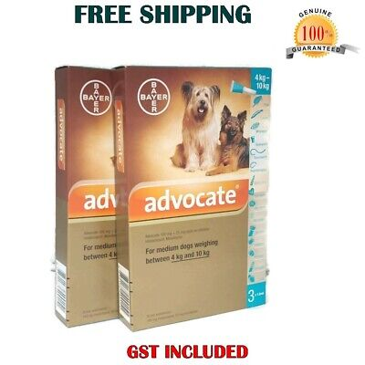 Advocate For Dogs 4-10 kg - 6 Dose Medium Dogs Flea-Tick Treatment Exp.10/2019